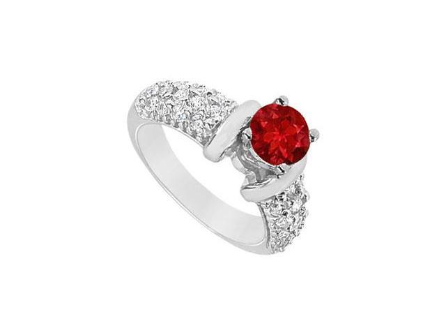 Created Ruby and Cubic Zirconia Cluster Engagement Rings in 14K White Gold 2.00.ct.tgw