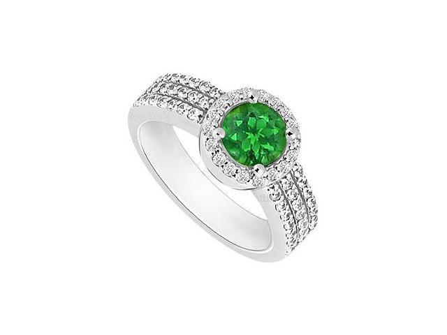 Emerald and Diamond Halo Engagement Ring  14K White Gold - 1.35 CT TGW