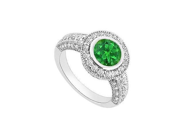 Emerald and Diamond Halo Engagement Ring  14K White Gold - 1.50 CT TGW