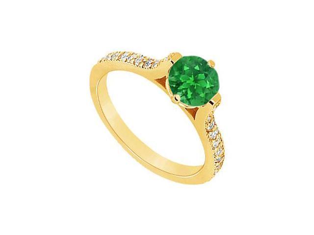 Emerald and Diamond Engagement Ring  14K Yellow Gold - 0.75 CT TGW