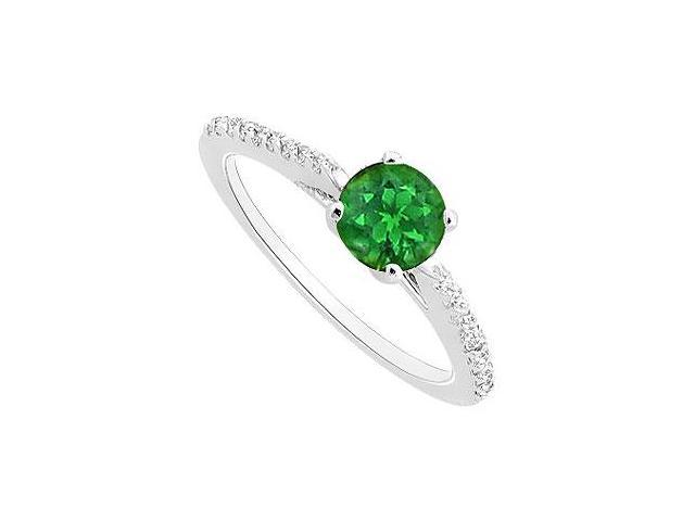 May Birthstone Created Emerald and CZ Engagement Rings 14K White Gold 0.50 CT TGW