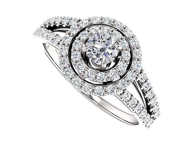 Split Shank Halo Engagement Rings with Diamond  in 14K White Gold 0.75 CT TGW