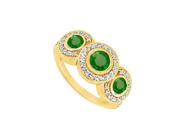 Emerald and Diamond Engagement Ring  14K Yellow Gold - 0.66 CT TGW
