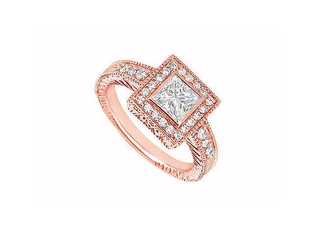 April Birthstone Diamond Halo Engagement Rings in 14K Rose Gold 1.00 CT TDW