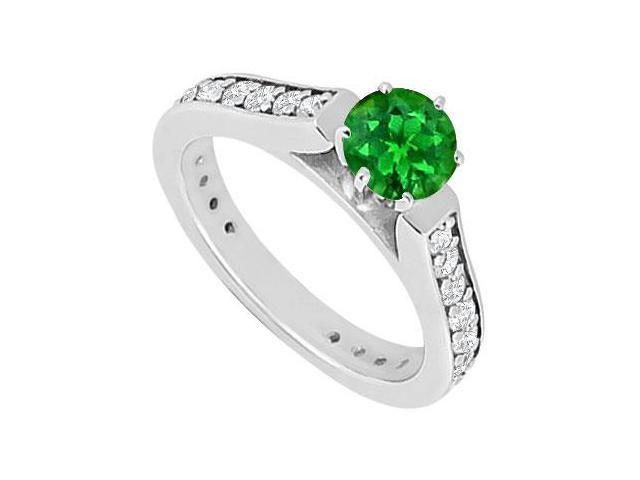 Emerald and Diamond Engagement Ring  14K White Gold 1.00 CT TGW