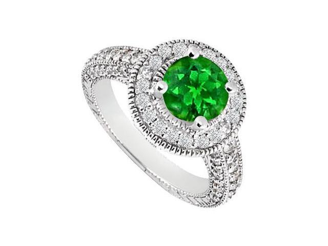 Emerald and Diamond Halo Engagement Ring  14K White Gold 1.30 CT TGW