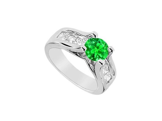 May Birthstone Frosted Emerald  Cubic Zirconia Engagement Ring in 14K White Gold 2.10 Carat TGW
