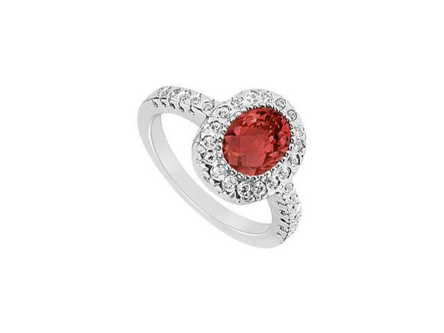 July Birthstone Created Ruby and CZ Halo Engagement Ring in 14K White Gold 1.50.ct.tgw