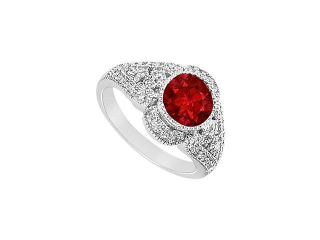 Created Ruby and Cubic Zirconia Filigree Engagement Rings in 14K White Gold 1.25.ct.tgw
