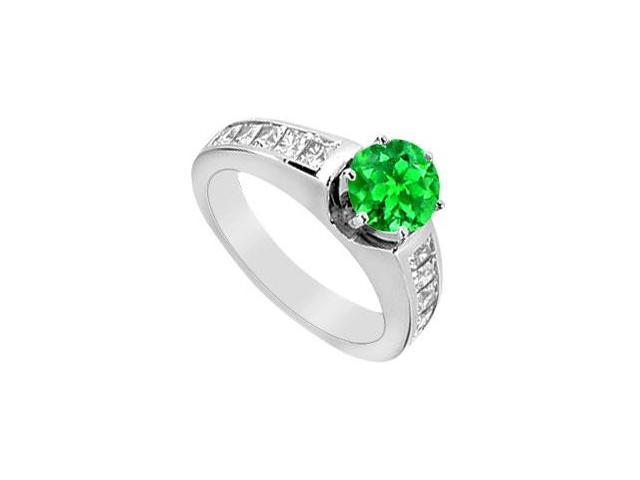 Princess Cut CZ and Frosted Emerald Engagement Ring in 14K White Gold 2.00 Carat TGW