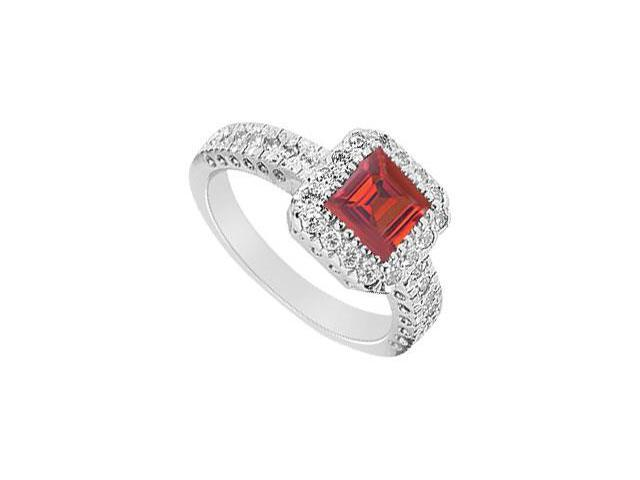 Square Created Ruby and Cubic Zirconia Halo Engagement Rings 14K White Gold 1.50.ct.tgw