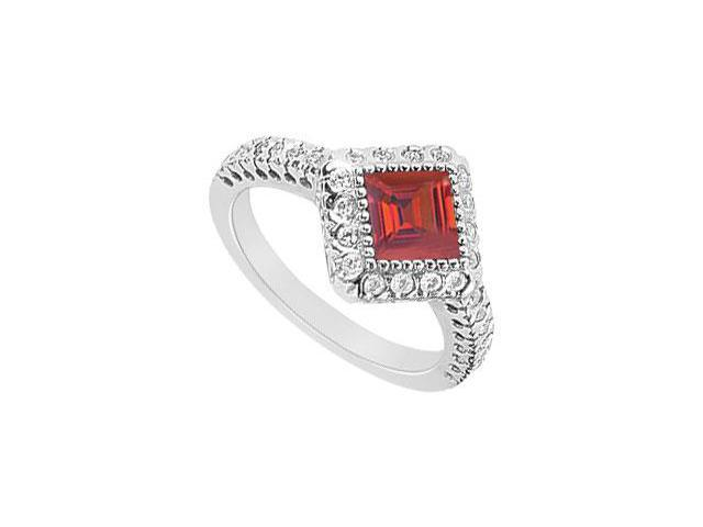 Square Created Ruby and CZ Halo Engagement Rings in 14K White Gold 1.50.ct.tgw