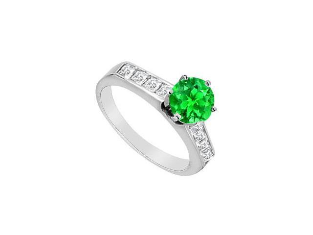 1CT Frosted Emerald and Princess Cut CZ Engagement Ring in 14K White Gold 1.60 Carat TGW