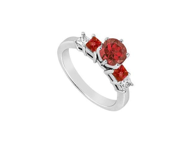 Birthstones Rubies and Cubic Zirconia Gemstones in 14K White Gold Engagement Ring 1.50 CT TGW.
