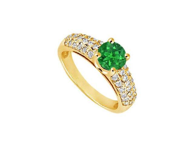 Emerald and Diamond Engagement Ring  14K Yellow Gold - 1.50 TGW