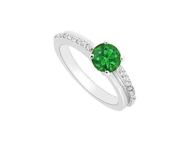May Birthstone Created Emerald  CZ Engagement Rings 14K White Gold 0.50 CT TGW
