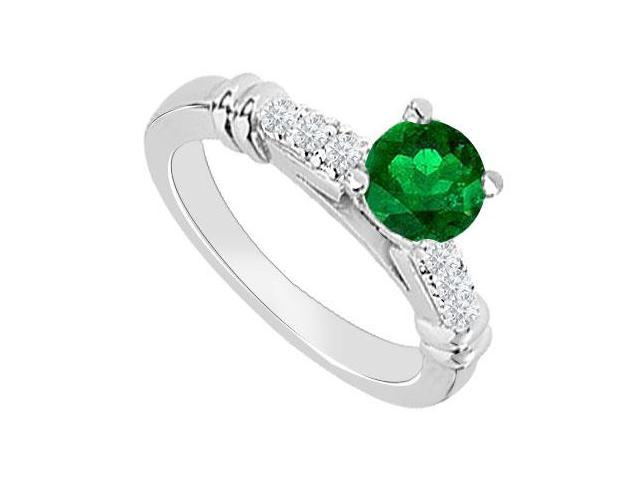 14K White Gold  Emerald and Diamond Engagement Ring 0.60 CT TGW