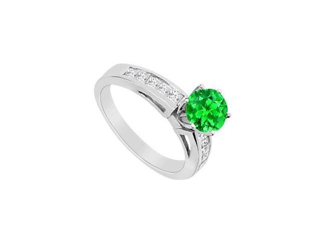 Princess Cut Cubic Zirconia and Frosted Emerald Engagement Ring in 14K White Gold 1.50 Carat TGW