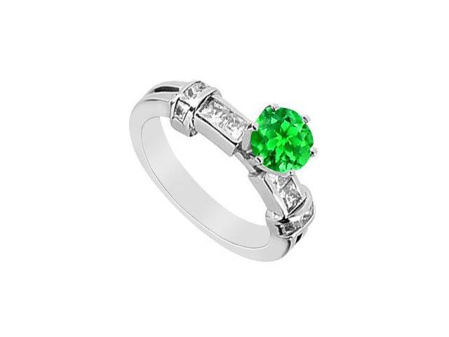 Frosted Emerald Prong Set Engagement Ring with CZ Channel Set in 14K White Gold 1.50 Carat TGW