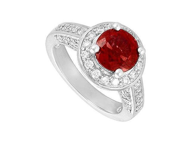 Created Ruby and Cubic Zirconia Halo Engagement Rings 14K White Gold 4.00.ct.tgw