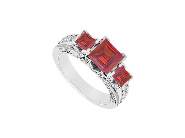 Created Ruby and Cubic Zirconia Three Stone Engagement Ring in 14K White Gold 2.75.ct.tgw