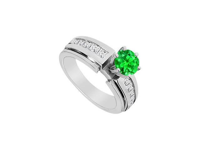 14K White Gold Channel Set Cubic Zirconia and Frosted Emerald Engagement Ring with 1.75 ct. TGW