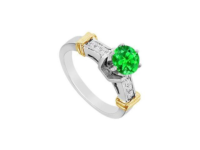 Frosted Emerald and Cubic Zirconia Engagement Ring in 14K White and Yellow Gold 1.50 Carat TGW
