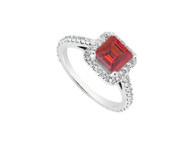Square Halo Engagement Rings with Created Ruby and CZ in 14K White Gold 1.00.ct.tgw