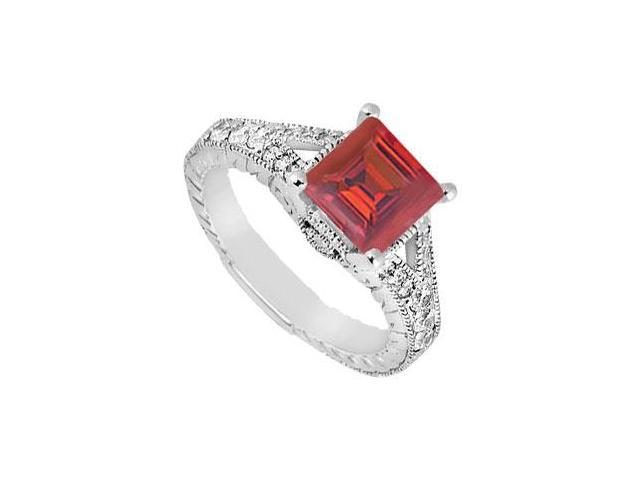 Square Created Ruby and Cubic Zirconia Milgrain Engagement Ring 14K White Gold 1.25.ct.tgw