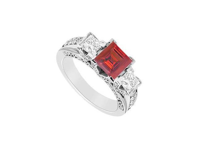Square Created Ruby and Cubic Zirconia Three Stone Engagement Ring 14K White Gold 1.50.ct.tgw