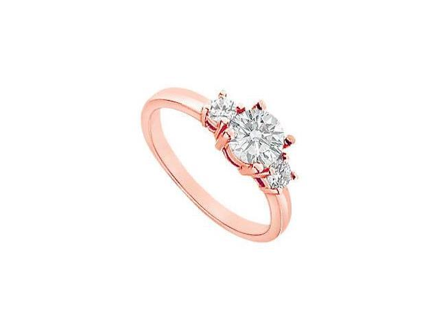 April Birthstone Three Stone Diamond Engagement Ring in 14K Rose Gold 1.00 CT TDW