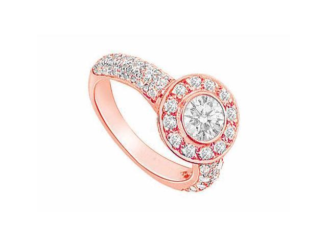 April Birthstone Diamond Halo Engagement Rings in 14K Rose Gold 2.00 CT TDW
