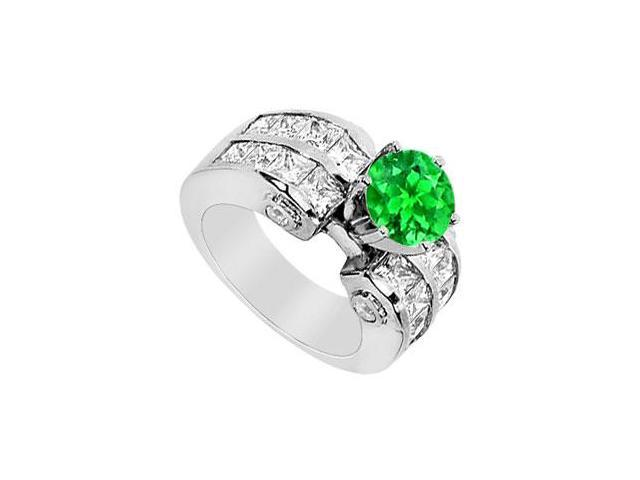 Prong Set Frosted Emerald with Channel set CZ Engagement Ring in 14K White Gold 4.15 Carat TGW