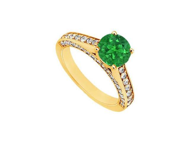 Emerald and Diamond Engagement Ring  14K Yellow Gold - 1.10 CT TGW