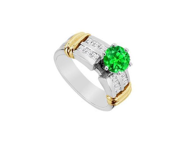 14K Two Tone White and Yellow Gold Frosted Emerald Engagement Ring with CZ 1.60 Carat TGW