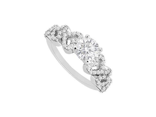 14K White Gold Semi Mount Engagement Ring 0.30 Carat Diamonds Not Included Center Diamond