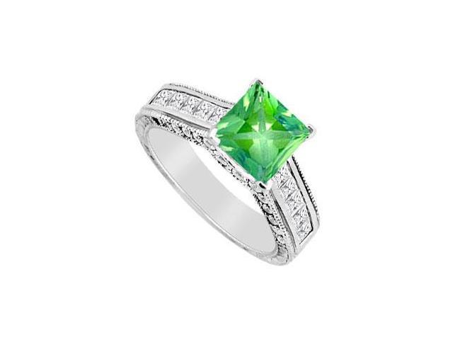 May Birthstone Frosted Emerald  CZ Milgrain Engagement Ring in 14K White Gold 2.50 CT TGW