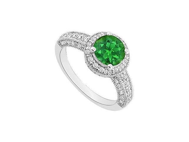May Birthstone Created Emerald  CZ Halo Engagement Rings 14kt White Gold 1.25 CT TGW