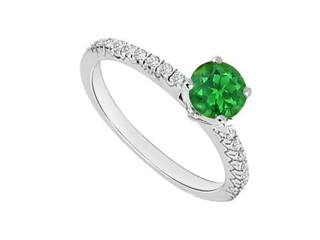 14K White Gold  Emerald and Diamond Engagement Ring 0.75 CT TGW