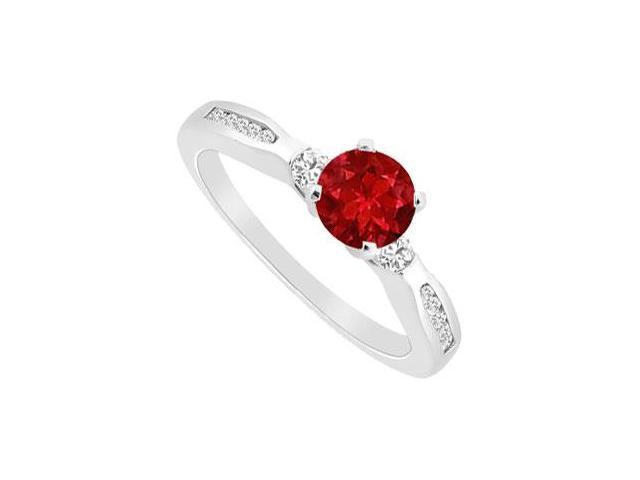 July Birthstone Created Ruby and CZ Engagement Ring 14K White Gold 0.75.ct.tgw