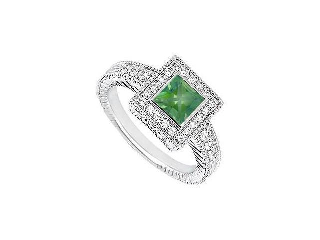 Diamond and Emerald Engagement Ring in 14K White Gold with 1.00 Carat TGW