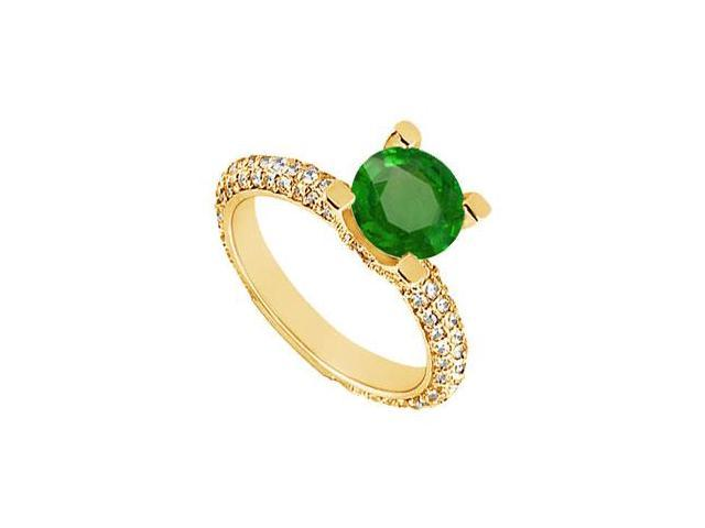 Emerald and Diamond Engagement Ring  14K Yellow Gold - 1.50 CT TGW