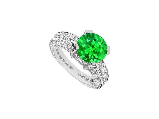5 Carat TGW Engagement Ring with Frosted Emerald and Cubic Zircocnia in 10K White Gold