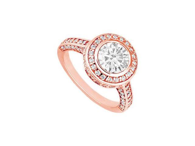 April Birthstone Diamond Halo Engagement Rings in 14K Rose Gold 1.50 CT TDW