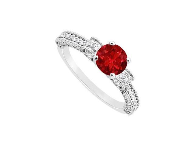 July Birthstone Created Ruby  CZ Milgrain Engagement Ring 14K White Gold 1.00 ct.tgw