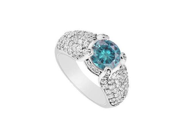 Blue Diamond Engagement Ring  14K White Gold - 2.00 CT Diamonds