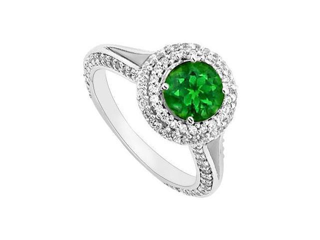 May Birthstone Created Emerald and CZ Halo Engagement Rings 14K White Gold 1.25 CT TGW
