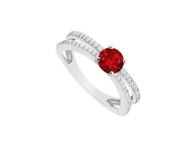 July Birthstone Created Ruby and CZ Engagement Rings 14K White Gold 0.75.ct.tgw