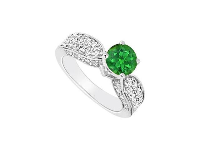 14K White Gold  Emerald and Diamond Engagement Ring 1.50 CT TGW