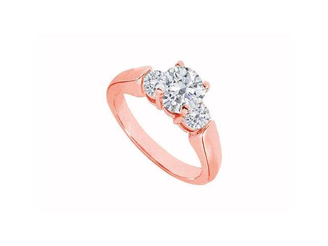April Birthstone Three Stone Diamond Engagement Ring in 14K Rose Gold  0.80 CT TDW